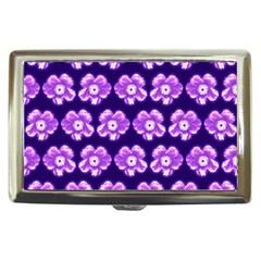 Purple Flower Pattern On Blue Cigarette Money Cases by Costasonlineshop