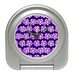 Purple Flower Pattern On Blue Travel Alarm Clocks