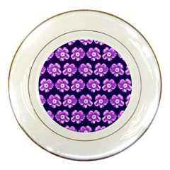 Purple Flower Pattern On Blue Porcelain Plates by Costasonlineshop