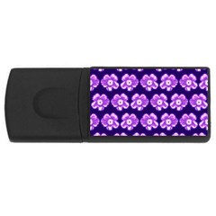 Purple Flower Pattern On Blue Usb Flash Drive Rectangular (4 Gb)  by Costasonlineshop
