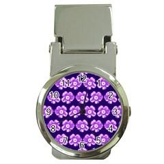 Purple Flower Pattern On Blue Money Clip Watches