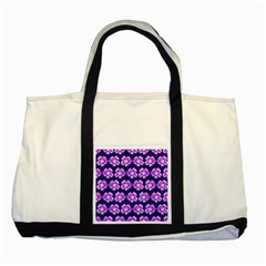 Purple Flower Pattern On Blue Two Tone Tote Bag