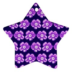 Purple Flower Pattern On Blue Star Ornament (two Sides)