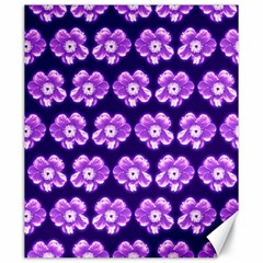Purple Flower Pattern On Blue Canvas 20  X 24