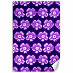 Purple Flower Pattern On Blue Canvas 20  X 30   by Costasonlineshop