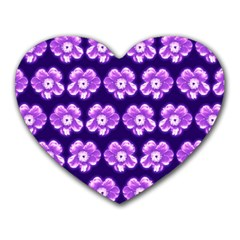 Purple Flower Pattern On Blue Heart Mousepads by Costasonlineshop