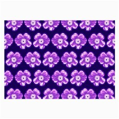 Purple Flower Pattern On Blue Large Glasses Cloth (2 Side) by Costasonlineshop