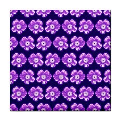 Purple Flower Pattern On Blue Face Towel