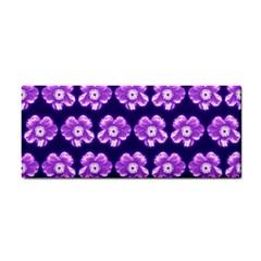 Purple Flower Pattern On Blue Cosmetic Storage Cases by Costasonlineshop