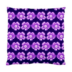 Purple Flower Pattern On Blue Standard Cushion Case (two Sides) by Costasonlineshop