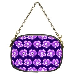 Purple Flower Pattern On Blue Chain Purses (two Sides)  by Costasonlineshop