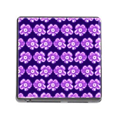 Purple Flower Pattern On Blue Memory Card Reader (square)