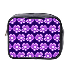 Purple Flower Pattern On Blue Mini Toiletries Bag 2 Side