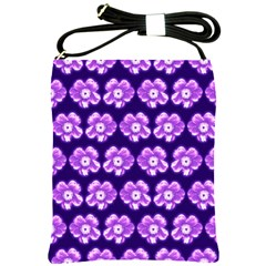 Purple Flower Pattern On Blue Shoulder Sling Bags by Costasonlineshop