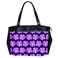 Purple Flower Pattern On Blue Office Handbags (2 Sides)  by Costasonlineshop