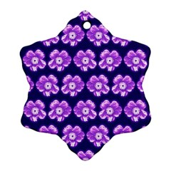 Purple Flower Pattern On Blue Snowflake Ornament (2 Side)