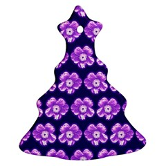 Purple Flower Pattern On Blue Christmas Tree Ornament (2 Sides)