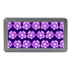 Purple Flower Pattern On Blue Memory Card Reader (mini)