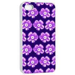 Purple Flower Pattern On Blue Apple Iphone 4/4s Seamless Case (white)
