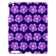 Purple Flower Pattern On Blue Apple Ipad 3/4 Hardshell Case by Costasonlineshop