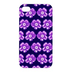 Purple Flower Pattern On Blue Apple Iphone 4/4s Premium Hardshell Case