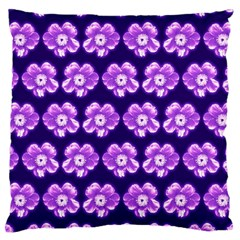 Purple Flower Pattern On Blue Large Cushion Case (two Sides)