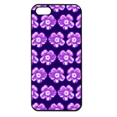 Purple Flower Pattern On Blue Apple Iphone 5 Seamless Case (black) by Costasonlineshop