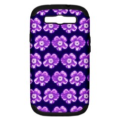 Purple Flower Pattern On Blue Samsung Galaxy S Iii Hardshell Case (pc+silicone) by Costasonlineshop
