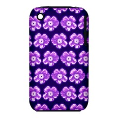 Purple Flower Pattern On Blue Iphone 3s/3gs