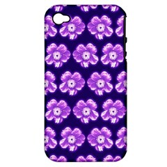 Purple Flower Pattern On Blue Apple Iphone 4/4s Hardshell Case (pc+silicone) by Costasonlineshop