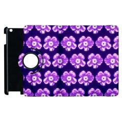 Purple Flower Pattern On Blue Apple Ipad 3/4 Flip 360 Case by Costasonlineshop