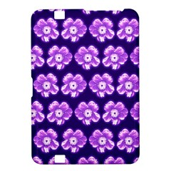 Purple Flower Pattern On Blue Kindle Fire Hd 8 9