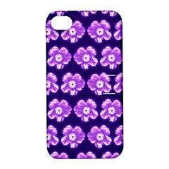 Purple Flower Pattern On Blue Apple Iphone 4/4s Hardshell Case With Stand by Costasonlineshop