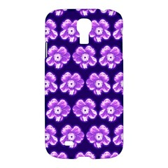 Purple Flower Pattern On Blue Samsung Galaxy S4 I9500/i9505 Hardshell Case