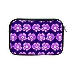 Purple Flower Pattern On Blue Apple Ipad Mini Zipper Cases by Costasonlineshop