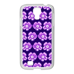 Purple Flower Pattern On Blue Samsung Galaxy S4 I9500/ I9505 Case (white) by Costasonlineshop