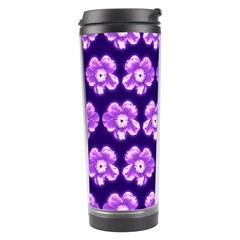 Purple Flower Pattern On Blue Travel Tumbler by Costasonlineshop