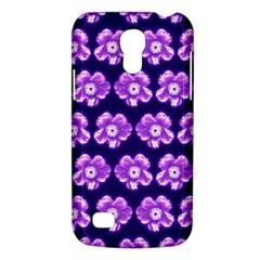 Purple Flower Pattern On Blue Galaxy S4 Mini