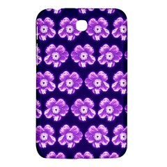 Purple Flower Pattern On Blue Samsung Galaxy Tab 3 (7 ) P3200 Hardshell Case  by Costasonlineshop