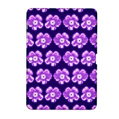 Purple Flower Pattern On Blue Samsung Galaxy Tab 2 (10 1 ) P5100 Hardshell Case  by Costasonlineshop