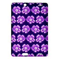 Purple Flower Pattern On Blue Amazon Kindle Fire Hd (2013) Hardshell Case by Costasonlineshop