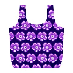 Purple Flower Pattern On Blue Full Print Recycle Bags (l)  by Costasonlineshop
