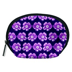 Purple Flower Pattern On Blue Accessory Pouches (medium)