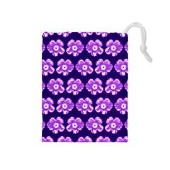 Purple Flower Pattern On Blue Drawstring Pouches (medium)