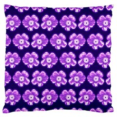 Purple Flower Pattern On Blue Large Flano Cushion Case (two Sides) by Costasonlineshop