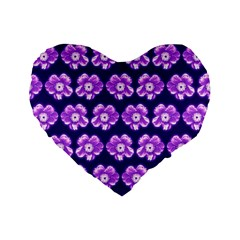 Purple Flower Pattern On Blue Standard 16  Premium Flano Heart Shape Cushions by Costasonlineshop