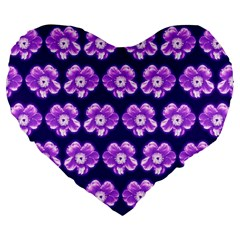 Purple Flower Pattern On Blue Large 19  Premium Flano Heart Shape Cushions