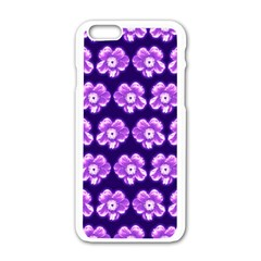 Purple Flower Pattern On Blue Apple Iphone 6/6s White Enamel Case by Costasonlineshop