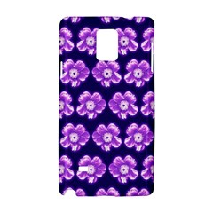 Purple Flower Pattern On Blue Samsung Galaxy Note 4 Hardshell Case by Costasonlineshop