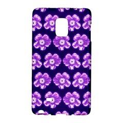 Purple Flower Pattern On Blue Galaxy Note Edge